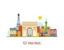Points de repère français Tour Eiffel, Notre Dame illustration de vecteur