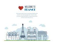 Points de repère français Tour Eiffel, Notre Dame dedans illustration stock