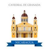Points de repère plats d'attraction de vecteur de la cathédrale De Grenade Nicaragua Images libres de droits