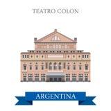 Points de repère plats de vecteur de Buenos Aires Argentine de deux points de Teatro illustration libre de droits