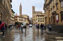 Points de repère sur Piazza di San Firenze à Florence, Italie Photographie stock