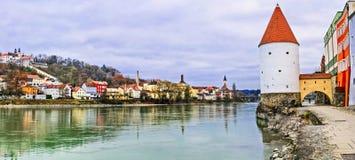 Points de repère ville d'Allemagne, Passau au-dessus de rivière d'andInn de Danube, Bavière images stock