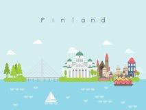 Points de repère voyage de la Finlande et vecteur de voyage Photographie stock libre de droits