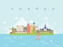 Points de repère voyage de la Suède et vecteur de voyage Image stock