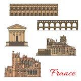 Points de repère de voyage de Français avec des bâtiments et des ponts Illustration Stock