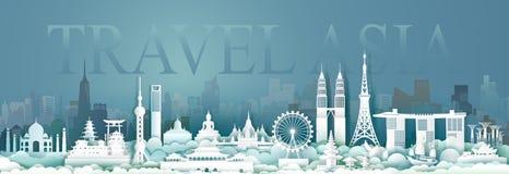 Points de repère de voyage de l'Asie avec la vue de panorama illustration de vecteur