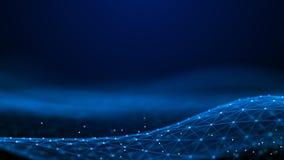 Points et lignes abstraits du rendu 3d technologie de plan?te de t?l?phone de la terre de code binaire de fond Grande visualisati illustration libre de droits