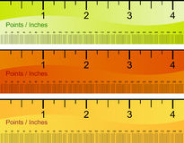 Points Inches Ruler Set Stock Photos