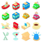 Points of interest icons set, cartoon style Royalty Free Stock Photo