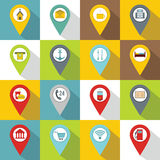 Points of interest icons set, flat style Stock Image