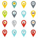 Points of interest icons set in flat style Royalty Free Stock Images