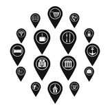 Points of interest icons set, simple style. Points of interest icons set. Simple illustration of 16 points of interest vector icons for web Stock Photos