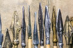 Points of iron spears. Located next to each other. It is a horizontal image stock image