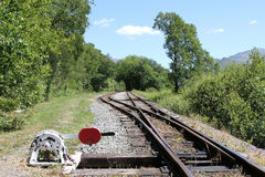 Points lever and rail line. Railway lines with hand opporated points lever Royalty Free Stock Images