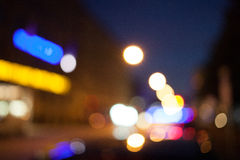 Points of light at night, bokeh city lights Stock Photos