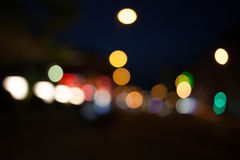 Points of light at night, bokeh city traffic lights Royalty Free Stock Photo