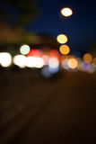 Points of light at night, bokeh city traffic lights Royalty Free Stock Photos