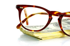 Points and money. On a white background Royalty Free Stock Photos