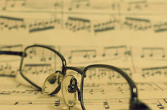 Points on the music book in vintage style. Royalty Free Stock Images
