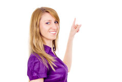 She points out your text Royalty Free Stock Photography