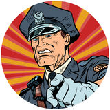 Points serious police officer pop art avatar character icon. Points serious police officer. pop art avatar character round icon. retro vector illustration vector illustration