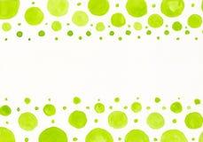 Points verts d'aquarelle Image stock