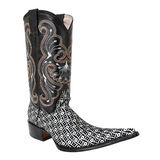 Pointy cowboy, pattern printed cloth boot. On white background Royalty Free Stock Photo