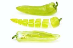 Pointy groene paprika drie stock afbeeldingen