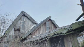Pointy Spooky Rooftops of an Abandoned Shed stock video footage