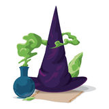 Pointy Witch Hat with Magic Alchemy Potion and Stone, Vector Illustration Royalty Free Stock Photo