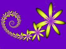 Pointy yellow fractal flowers. On a purple background Royalty Free Stock Photography