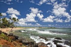 Πόλος αλιείας στο τοπίο παραλιών της Χαβάης Poipu Στοκ Εικόνα