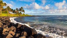 Poipu Beach Panorama. Panoramic view of Poipu beach in afternoon light, Kauai Royalty Free Stock Photos