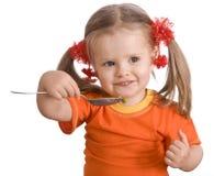 poire alimentante de fille de chéri Photo stock