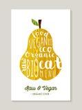 Poire crue et de vegan de nourriture avec la conception de l'avant-projet des textes Photos stock
