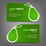 Poire de vert de carte de visite professionnelle de visite Photos libres de droits