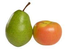 Poire et pomme d'isolement Images stock