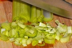 Poireau de crevettes prêt pour la cuisson Photographie stock libre de droits