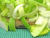 Poireau vert coupé en tranches Images libres de droits