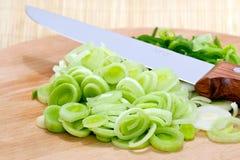 Poireaux coupés en tranches Image stock