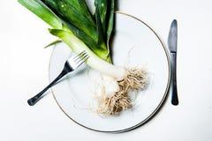 Poireaux du plat Photo stock