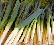 Poireaux frais Photos stock