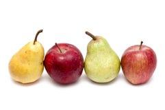 Poires de pommes, jaunes et vertes rouges Images libres de droits