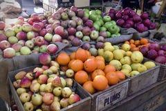 Poires organiques de grenade de citrons d'oranges de pommes de fruit image stock