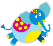 Pois tropicali del circo di colore dell'elefante Fotografia Stock