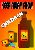 Poison. Project poster for children's safety, created in Coreldraw10 Stock Image