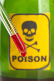 Poison bottle with label and blood royalty free stock photos