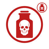 Poison bottle with scull icon. Royalty Free Stock Photo