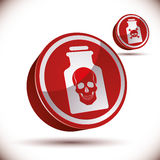 Poison bottle with skull 3d icon. Stock Photos