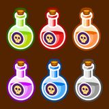Poison cartoon bottles liquids colors elemetns. Symbols vector illustration